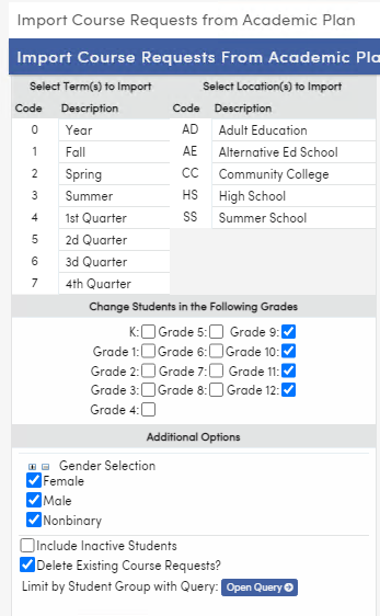 Import Course Requests from Academic Plan page