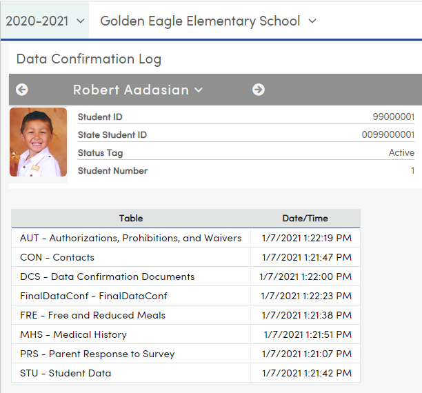Student Data Confirmation log