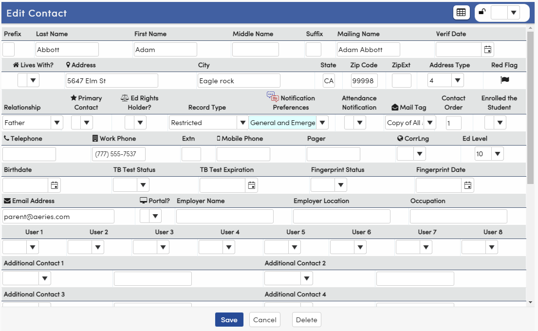Form for adding and editing contacts