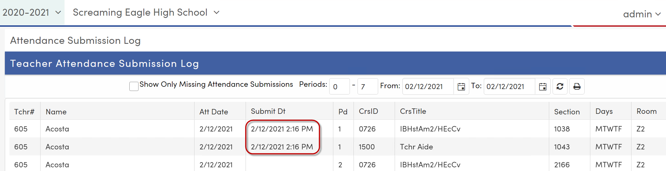 Attendance Submission Log