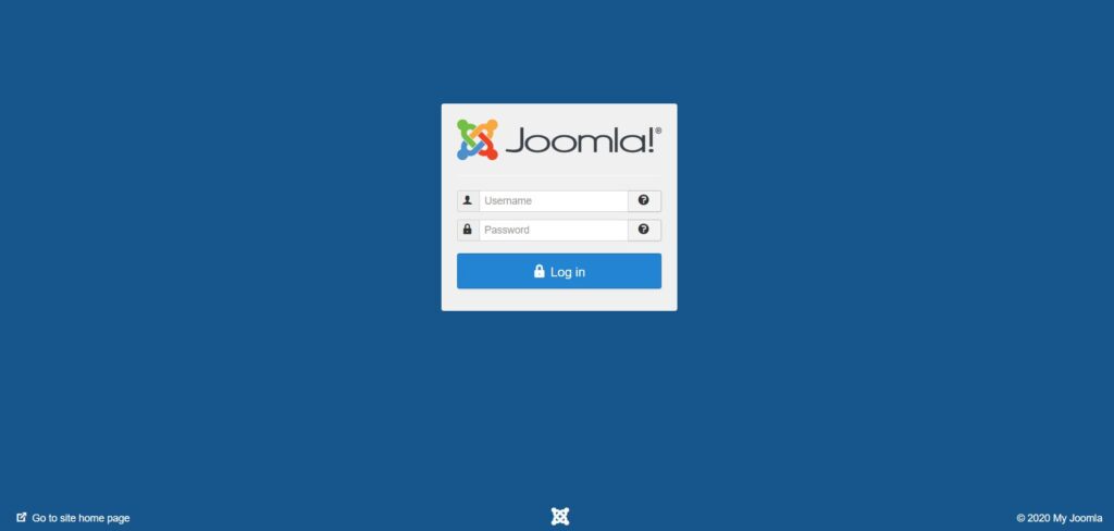 Tampilan Login Admin Joomla