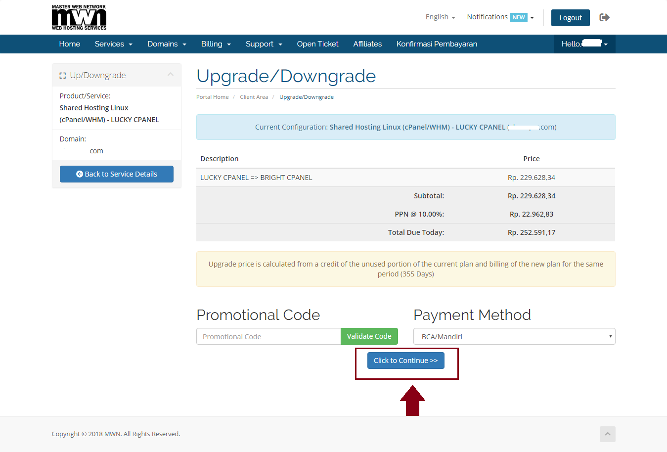 Upgrade Downgrade MWN 1 My CMS