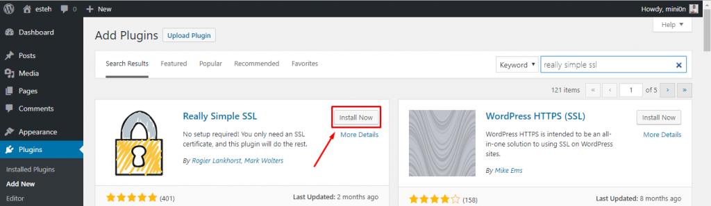 install plugin Really Simple SSL