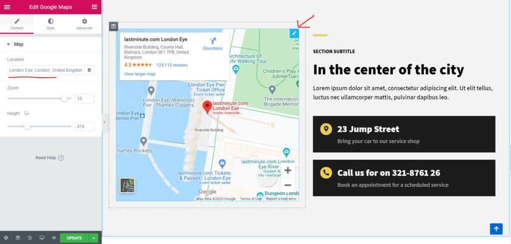 Edit Maps di Halaman Beranda