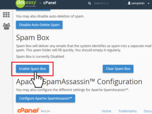 enable spam box My CMS