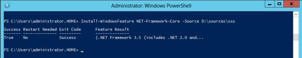 Install .NET Framework 3.5 features using Powershell