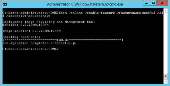Install .Net Framework 3.5 with dism.exe