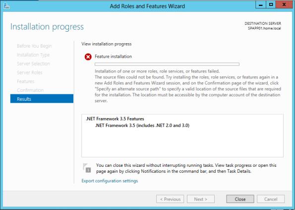 .NET Framework 3.5 features installation failure