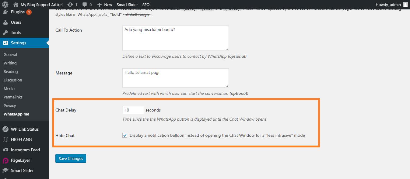 Chat Delay dan Hide Chat Settings