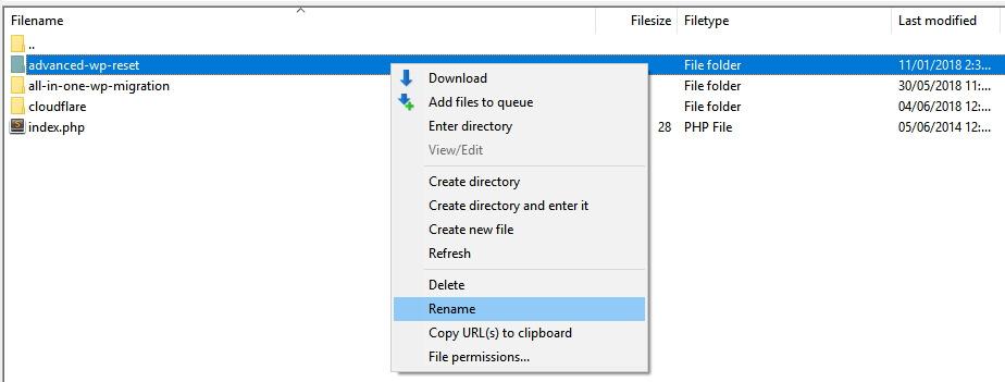 Mengganti nama folder