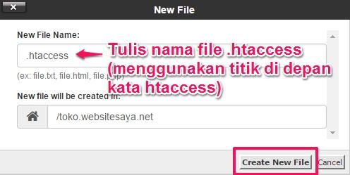 membuat file htaccess