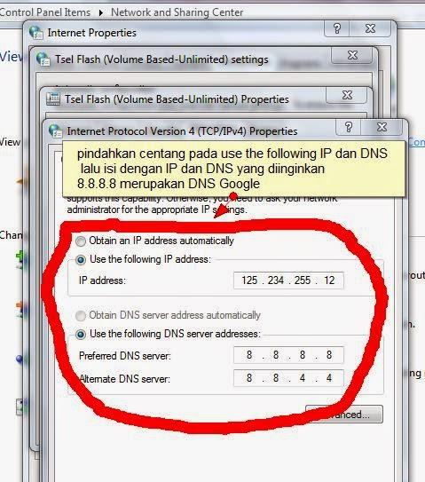 cara mengganti IP address dan DNS windows 7