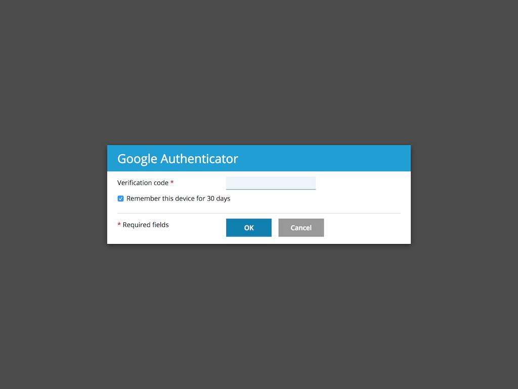 Authentication schemes - Google Authenticator extension verification dialog