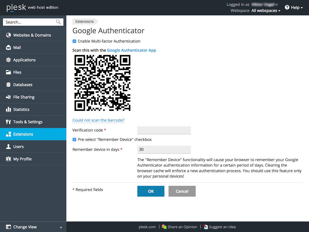 Authentication schemes - Google Authenticator extension