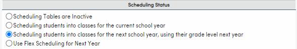Scheduling Status options