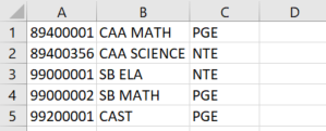 State Testing Export Files - CAASPP Student Condition Codes example