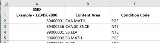 State Testing Export Files - CAASPP Student Condition Codes template with data