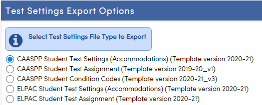 Test Settings File Type Option includes version information