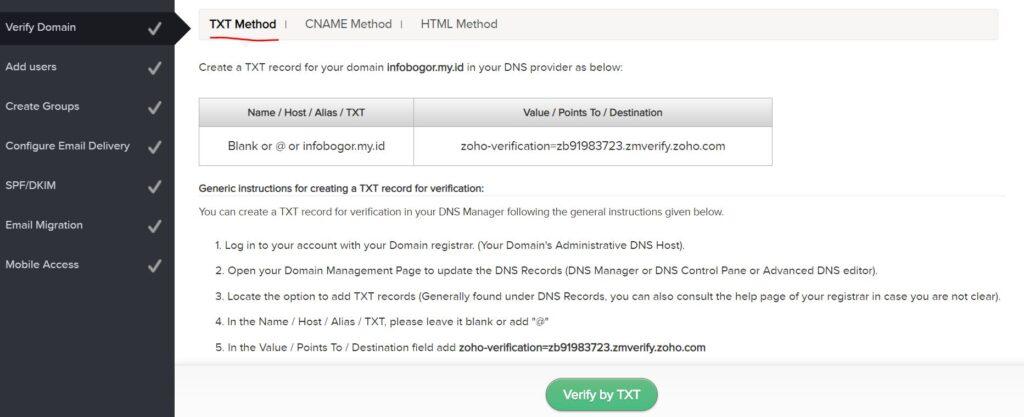 Cara setting email domain