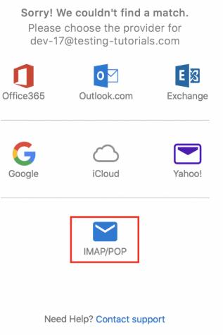 Setting outlook - Pilih IMAP/POP