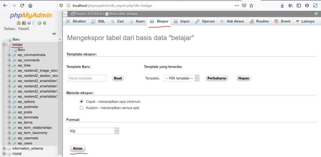 Export database localhost