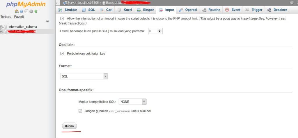 Cara upload database ke hosting