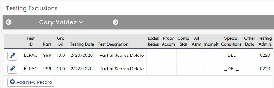 Testing Exclusions - Special Processes - Partial Scores Delete record