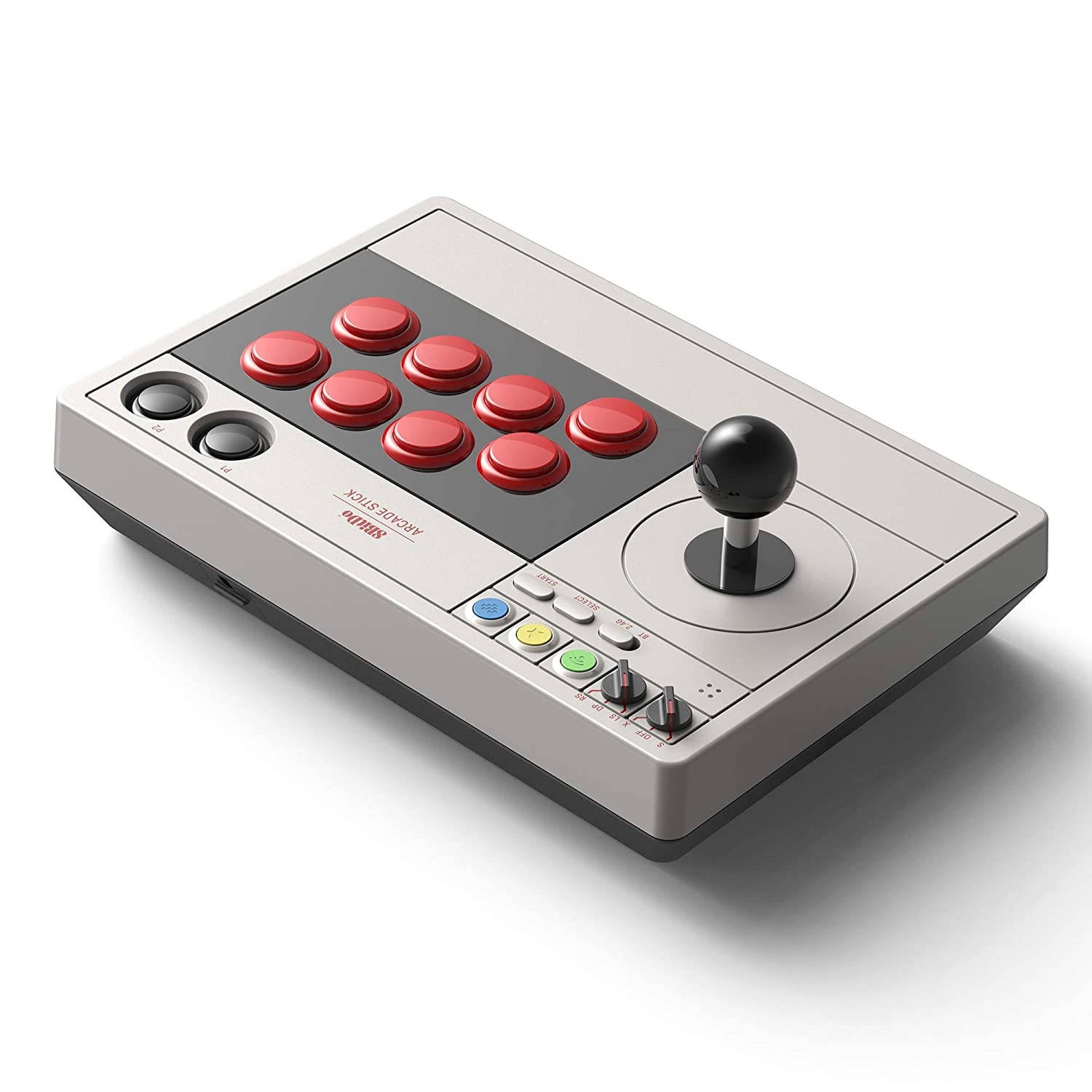 Arcade-style controller with a large joysticks and buttons.