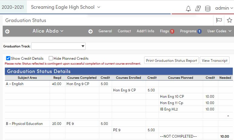 Grad Status-Show Credit Details - California