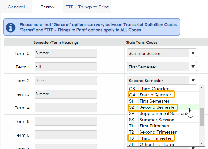 Transcript Definitions - Terms tab, State Term Codes dropdown