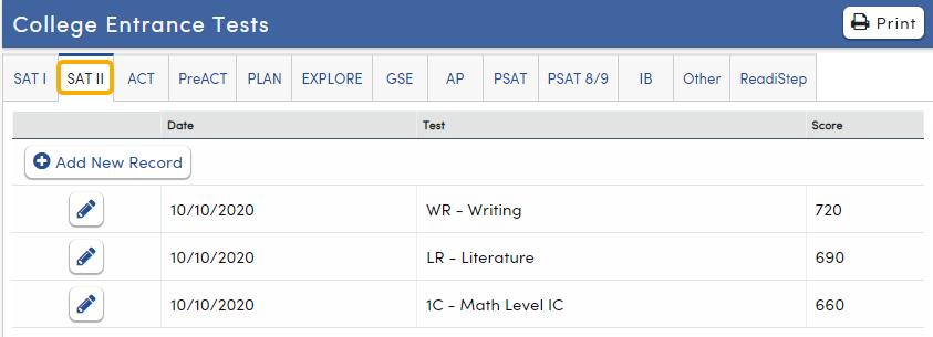 College Entrance Tests - SAT II tab