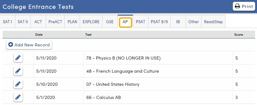 College Entrance Tests - AP tab