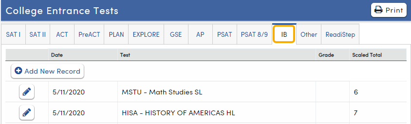 College Entrance Tests - IB tab