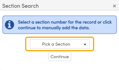 Grades Page - Add New Record - Pick a Section notification