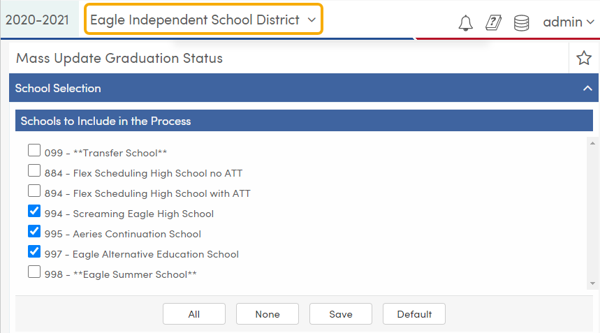Mass Update Graduation Status - School Selection tab - TX