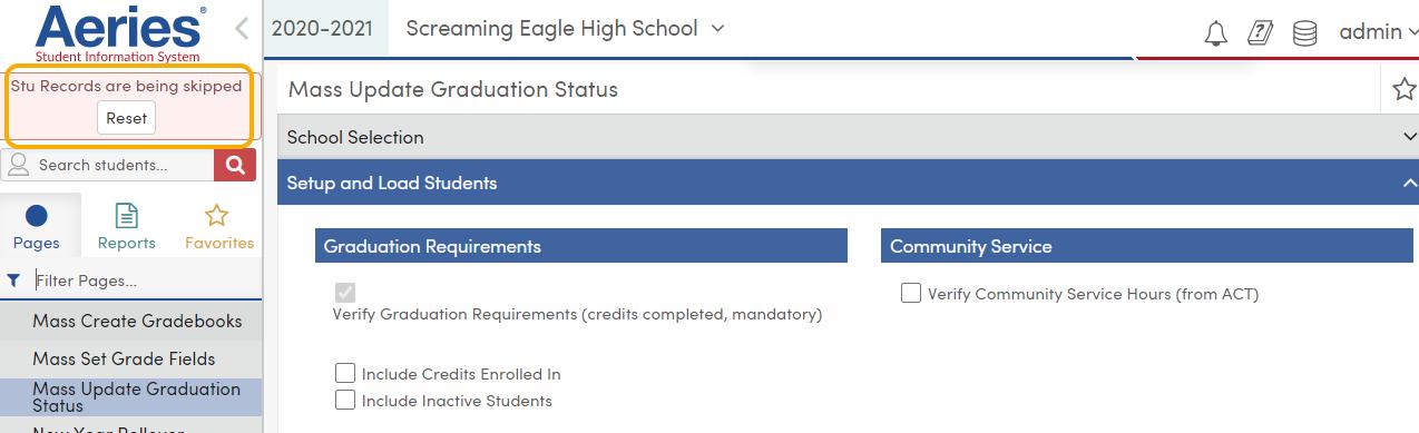 Mass Update Graduation Status - Stu Records being skipped notification - TX