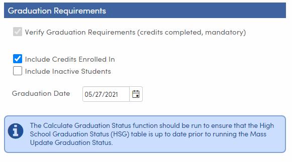 Mass Update Graduation Status - Setup and Load Students tab - Graduation Requirements - TX