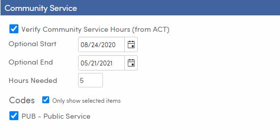Mass Update Graduation Status - Setup and Load Students tab - Community Service - TX