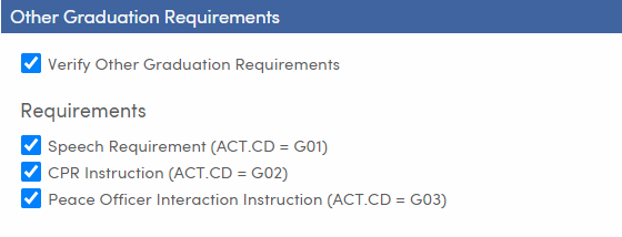 Mass Update Graduation Status - Setup and Load Students tab - Other Graduation Requirements - TX