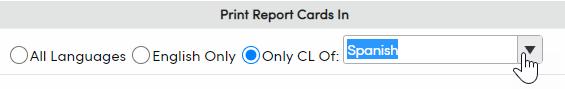 Print Secondary Standards Based Grade Report Cards Report Options - Print Report Cards In option