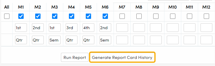 Print Secondary Standards Based Grade Report Cards Report Options - Generate Report Card History