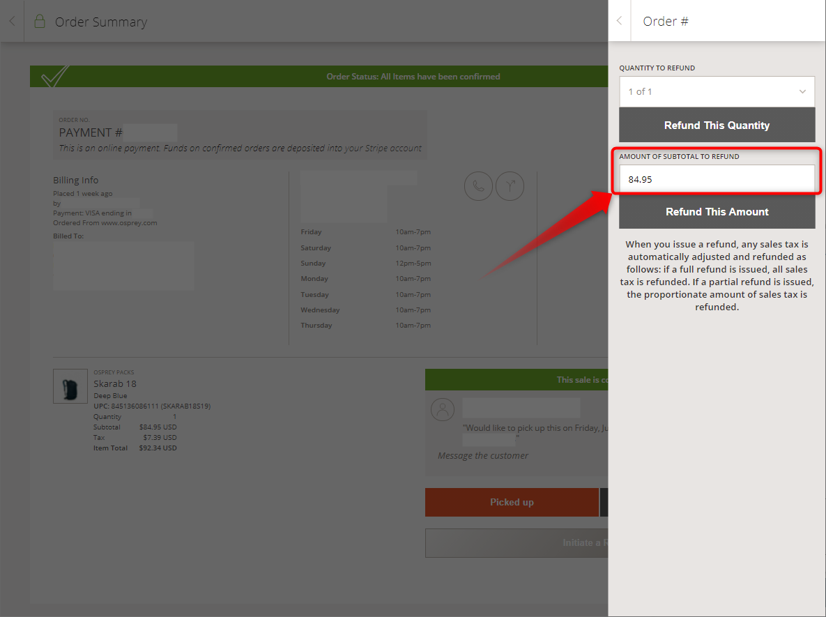 """Image of confirmed Locally order screen with refund drawer visible. """"Amount of subtotal to refund"""" is circled"""
