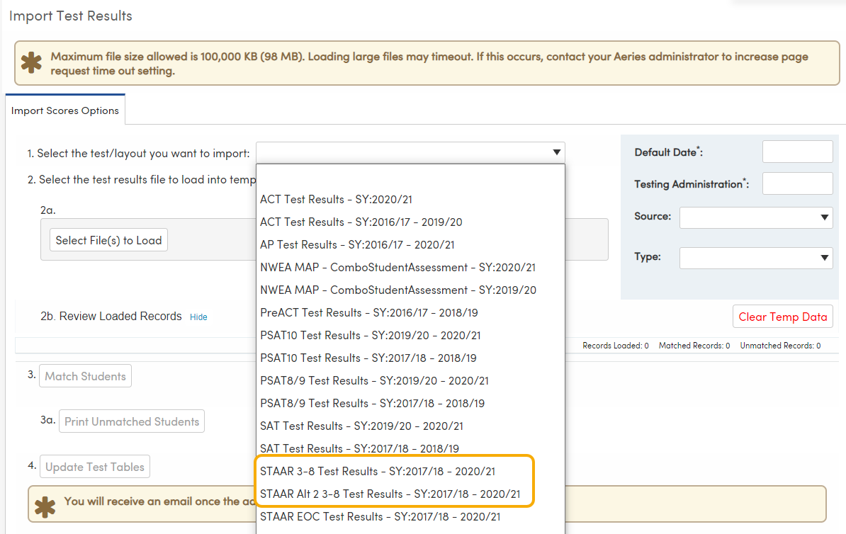 Import Test Results - STAAR 3-8 and STAAR Alt 2 3-8 file layouts