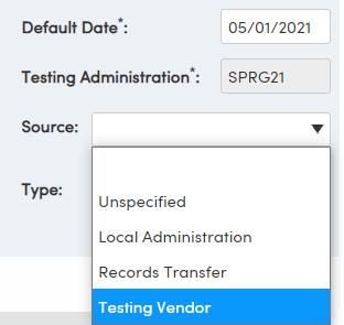 Import Test Results - Default Date, Testing Administration, Source, Type options