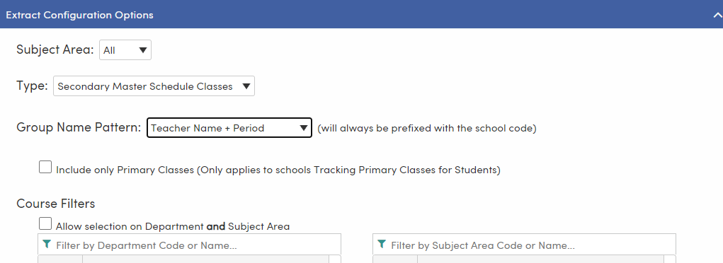 CERS Student Groups page - Extract Configuration Options tab - Group Name Pattern dropdown