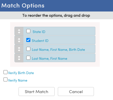 Import Test Results - Match Options