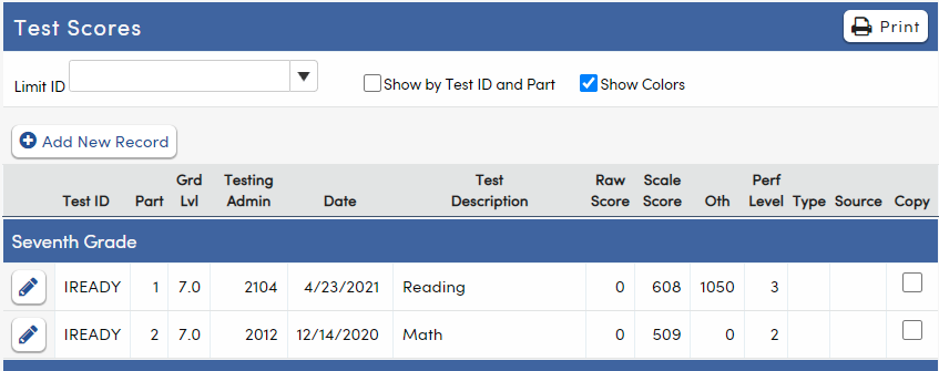 Test Scores - i-Ready data example