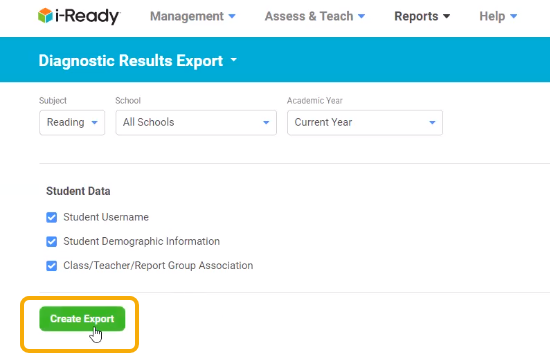 i-Ready site - Create Export button