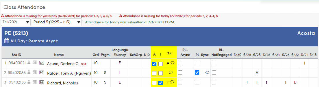 Class Attendance page
