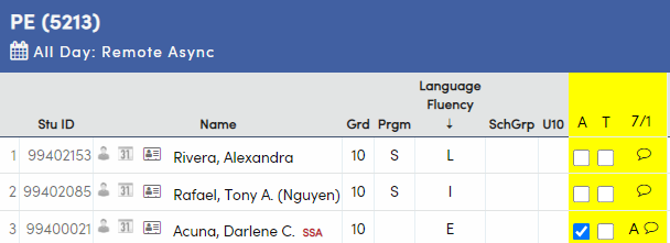 Class Attendance-Sort by header row